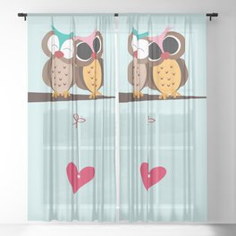 Love owls on the branch, blue background Sheer Curtain