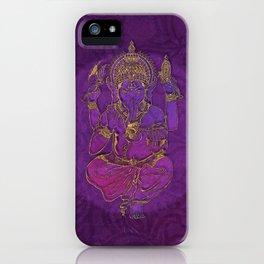 Ganesha hindu god watercolor gold purple art iPhone Case