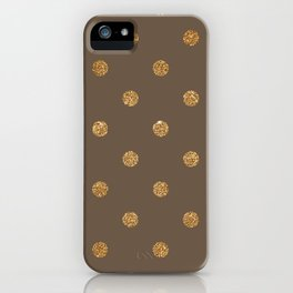 Umber Gold Glitter Dot Pattern iPhone Case