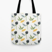 floral pattern Tote Bags featuring Floral Pattern by Mark Conlan