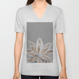Gray Agave with Gold Glitter #1 #shiny #tropical #decor #art #society6 Unisex V-Neck
