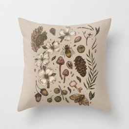 Nature Walks (Light Background) Throw Pillow