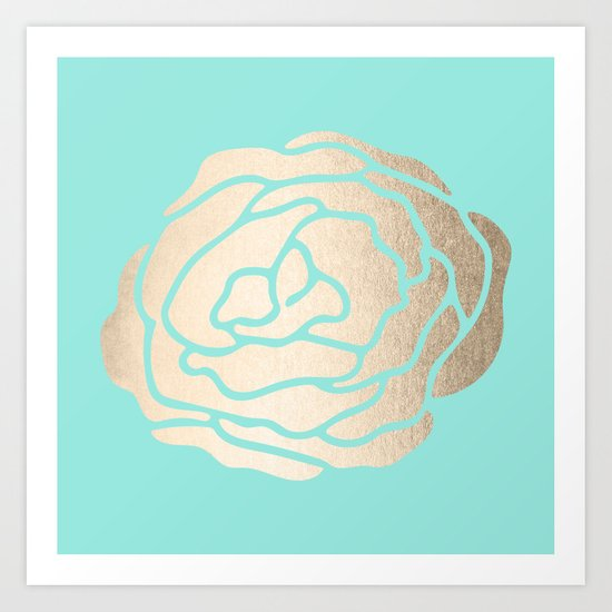 Rose in White Gold Sands on Tropical Sea Blue Art Print