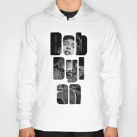 woodstock Hoodies featuring Bob Dylan Font Black And White by Fligo