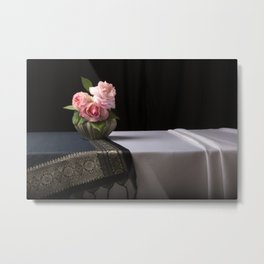 Roses and silk still life Metal Print