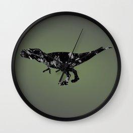 T-rex - black and gray Wall Clock