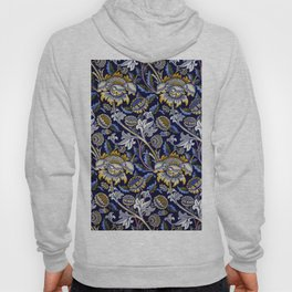 William Morris Blue Wey Floral French Textile Pattern Hoody