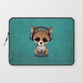 Cute Red Fox Cub Dj Wearing Headphones on Blue Laptop Sleeve