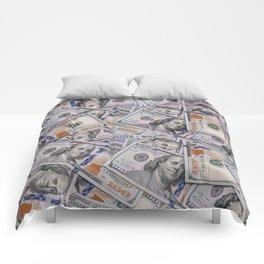 Hundred Dollar Bills Scattered Comforters