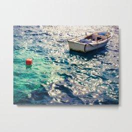 Fishing Boat in Santorini Metal Print