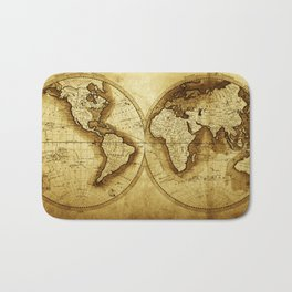 Antique Map of the World Bath Mat