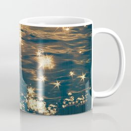 Sparkling Ocean in Gold and Navy Blue Coffee Mug