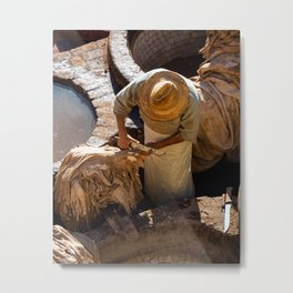 Craftman cutting leather at the tanneries | Morocco travel photography Metal Print