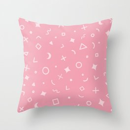 Geometric Pattern - Light Pink on Pink Throw Pillow