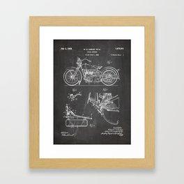 Harley Motorbike Patent - Harley Bike Art - Black Chalkboard Framed Art Print