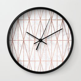 Modern geometric triangles faux rose gold pattern on white marble Wall Clock
