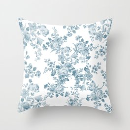 Vintage blue white bohemian elegant floral Throw Pillow