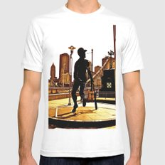 Roberto's Shadow Lives In Roberto's City MEDIUM White Mens Fitted Tee