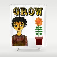large Shower Curtains featuring Grow Large by Jonny Bateau