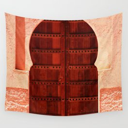 Masala Chai - Red Door in India - Millenial Pink Magenta Maroon - Antique Eclectic Travel Architecture Wall Tapestry