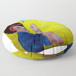 Black Rosie the Riveter Floor Pillow