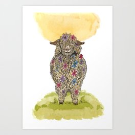 Flower Goat Art Print