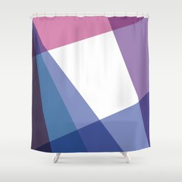 Fig. 003 Colorful Geometric Shapes Pink Blue Shower Curtain