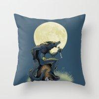 werewolf Throw Pillows featuring Werewolf! by drubskin