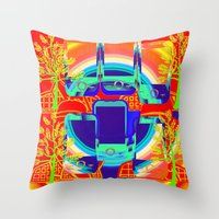 technology Throw Pillows featuring technology & Nature by Kathead Tarot/David Rivera