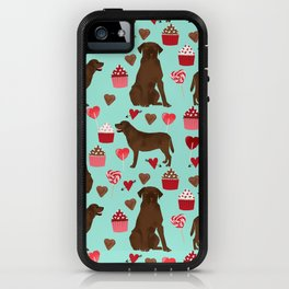 Chocolate Labrador Retriever valentines day cupcakes love hearts dog gifts labs iPhone Case