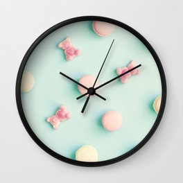 Macarons, macaroons & bears, sweets, candies, pop art Wall Clock