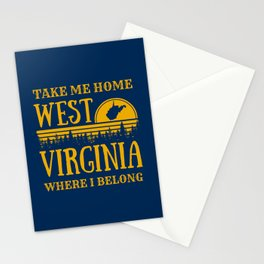 West Virginia State Map Country Roads WV Home Pride Retro Print Stationery Cards