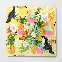 Tropical Toucan & Flamingo Pattern Metal Print