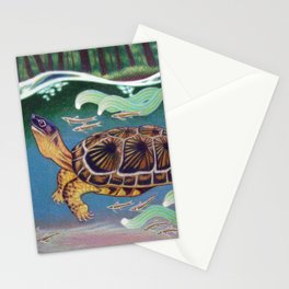 Wood Turtle Color Pencil Artwork Stationery Cards