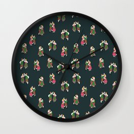 Oktoberfest Dancing Couples Blue Wall Clock