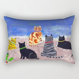 Cats on the Beach Rectangular Pillow