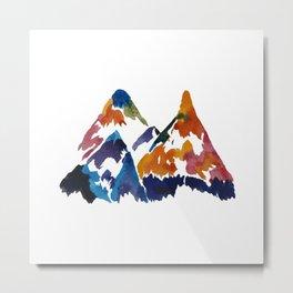 WATERCOLOR MOUNTAINS Metal Print