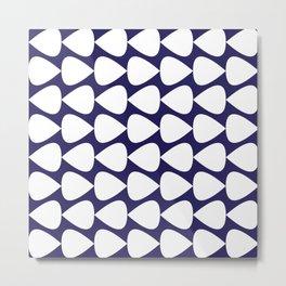 Plectrum Pattern in White on Delft Navy Blue Metal Print