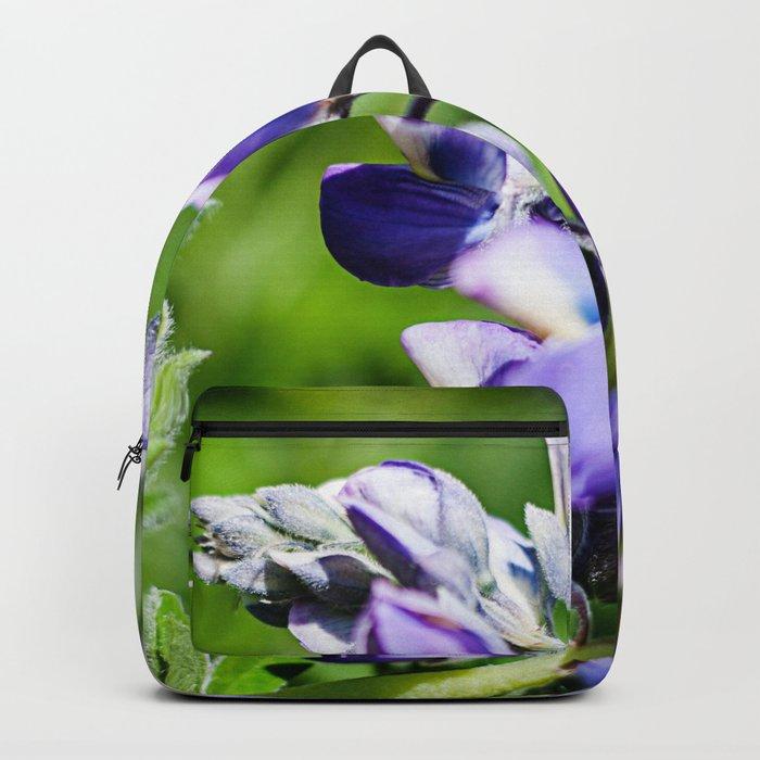 Purple Lupine Photography Print Backpack
