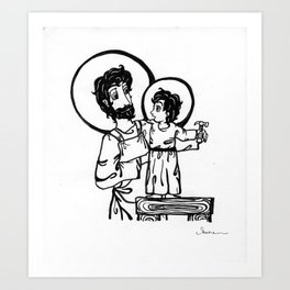 Joseph Teaching Jesus Carpentry Art Print