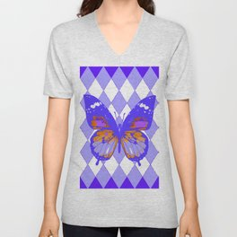 ABSTRACTED PURPLE BUTTERFLY  &  LILAC ARGYLE PATTERN Unisex V-Neck