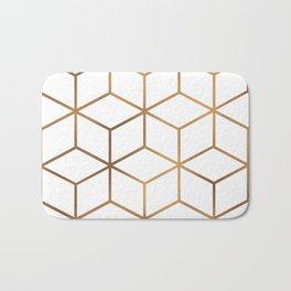 White and Gold - Geometric Cube Design Bath Mat