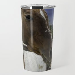 Beautiful Horse with Brown and White Patches Watching a Storm Coming in Travel Mug