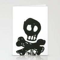 all time low Stationery Cards featuring All Time Low Skull and Cross Bones by Kelsey