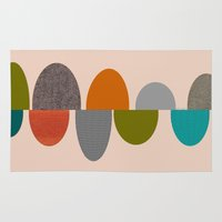 mid century modern Area & Throw Rugs featuring Mid-Century Modern Ovals Abstract by Kippygirl