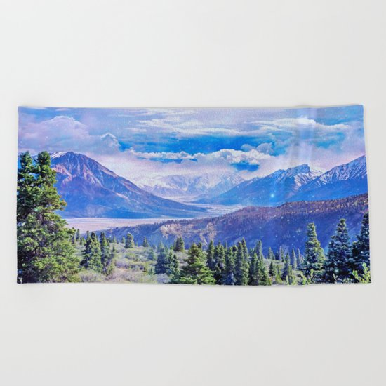 Neverland mountains Beach Towel
