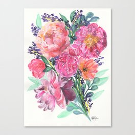 Peonies Bouquet Canvas Print