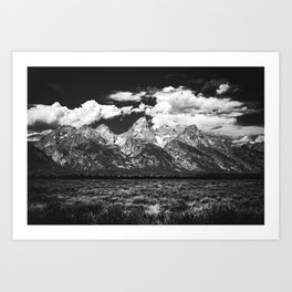 Mountain Summer Escape - Black and White Tetons Art Print
