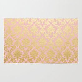 Princess like - Luxury pink gold ornamental damask pattern Rug