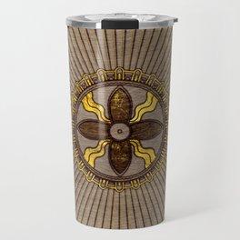 Seal of Shamash - Wood burned with gold accents Travel Mug